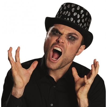 Chapeau haut de forme Halloween tête de mort adulte