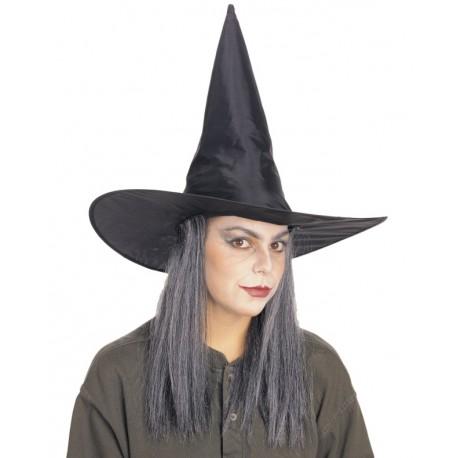 Chapeau sorcière avec cheveux gris femme