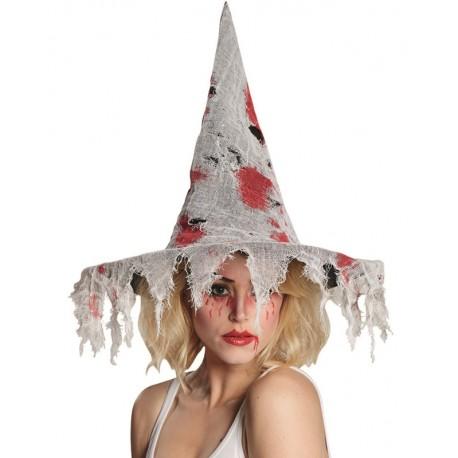 Chapeau sorcière ensanglanté femme Halloween