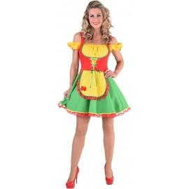 Déguisement bavaroise rouge jaune vert femme luxe