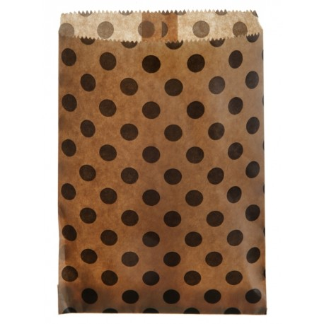 Sachets papier kraft à pois noirs 18 cm les 24