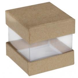 Boîte à dragées cube kraft et transparent les 6
