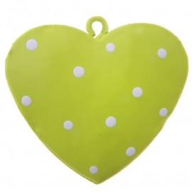 Coeur métal vert anis à pois 4 cm les 4