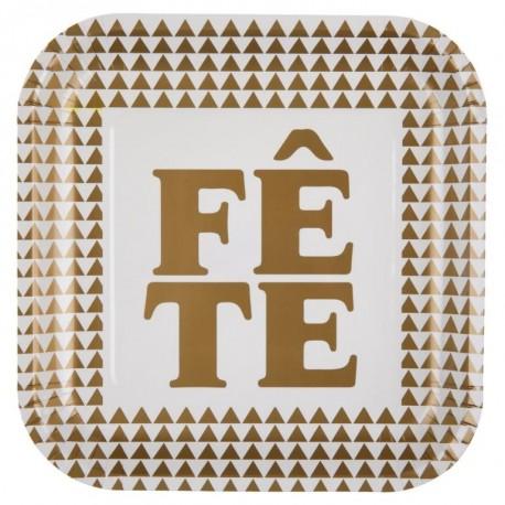 Assiette carton Fête or 22.5 cm les 10