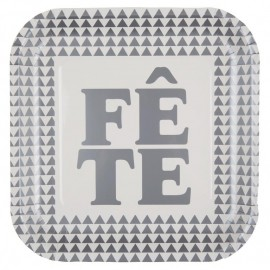 Assiette carton Fête argent 22.5 cm les 10