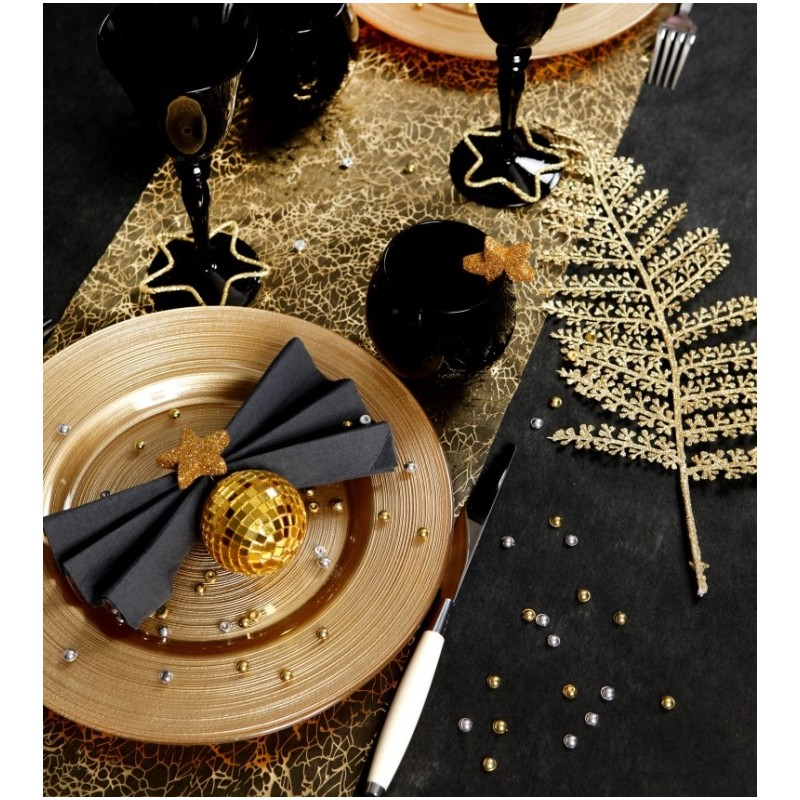 chemin de table cristaux or organdi 5 m achat chemin de table f tes. Black Bedroom Furniture Sets. Home Design Ideas