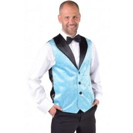 Déguisement gilet turquoise à paillettes homme luxe
