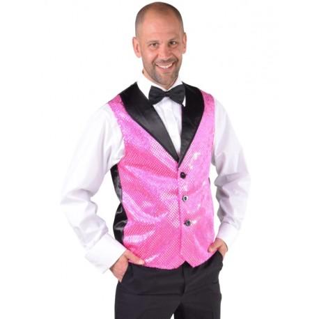 Déguisement gilet rose à paillettes homme luxe