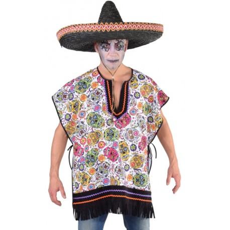 Déguisement poncho mexican Dia de los muertos homme luxe Halloween