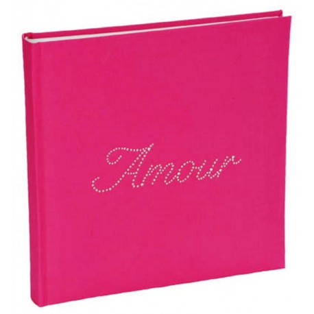Livre d'or Amour strass fuchsia