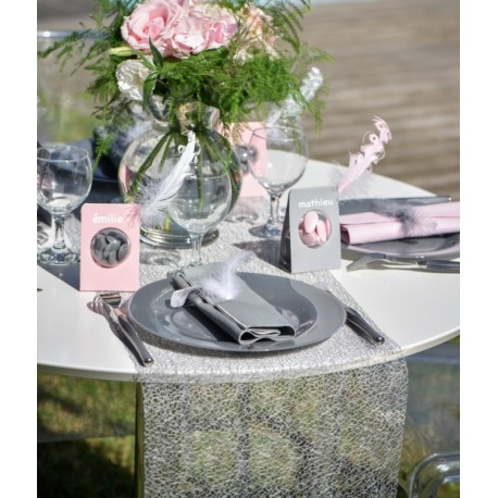 Chemin de table Grace gris 5 M