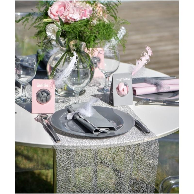 Chemin de table grace gris 5 m achat chemin de table - Chemin de table gris ...