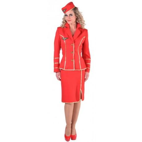 Déguisement hôtesse de l'air 1950 rouge femme luxe
