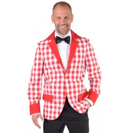 Déguisement veste damier rouge blanc homme luxe