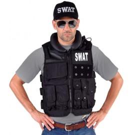 Déguisement gilet tactique SWAT noir homme luxe
