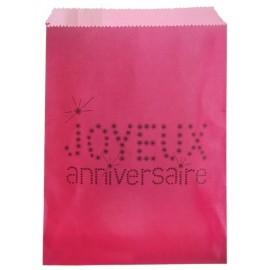 Sachets papier joyeux anniversaire fuchsia 18 cm les 24