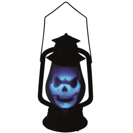 Lanterne Halloween crâne avec lumière et son 27 cm