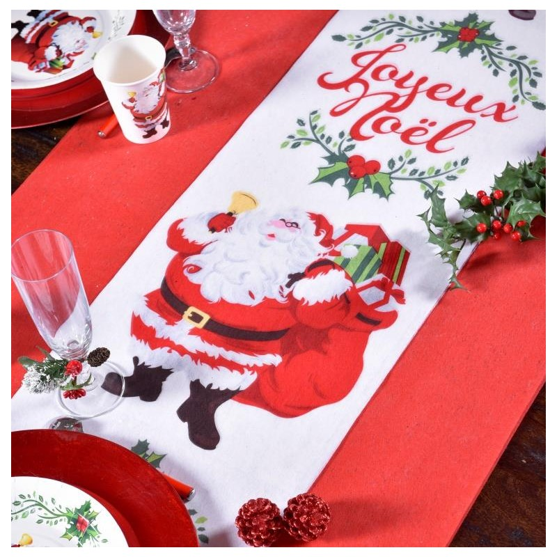 Chemin de table joyeux no l intiss 5 m d coration table - Chemin de table de noel ...