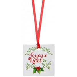 Etiquettes marque place Joyeux Noël avec ruban les 12