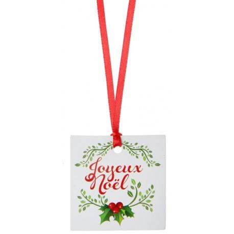 Etiquette marque place Joyeux Noël avec ruban les 12
