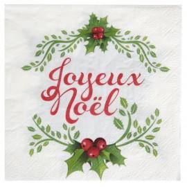 Serviette de table Joyeux Noël papier les 20