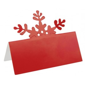 Marque place flocon de neige rouge en carton les 10