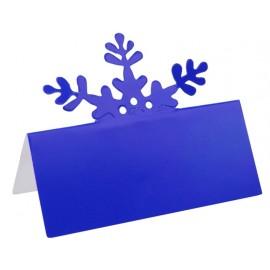 Marque place flocon de neige bleu en carton les 10