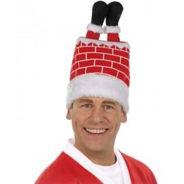 Chapeau Père Noël dans la cheminée adulte