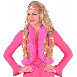 Déguisement gilet hippie à fleurs femme luxe