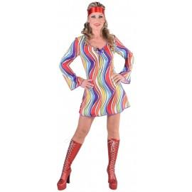 Déguisement 70's hippie rainbow waves femme luxe