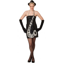 Déguisement disco sequin noir saxophone femme luxe