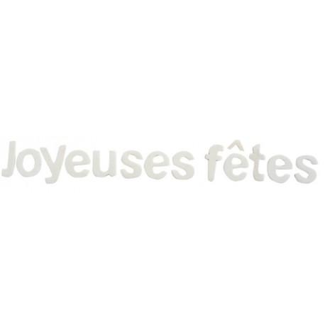 Lettres joyeuses fêtes blanches en bois décoratives