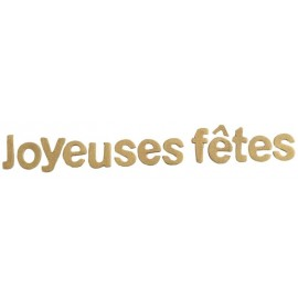 Lettres joyeuses fêtes or en bois décoratives