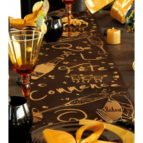 Chemin de table fête noir or pailleté organdi 5 M