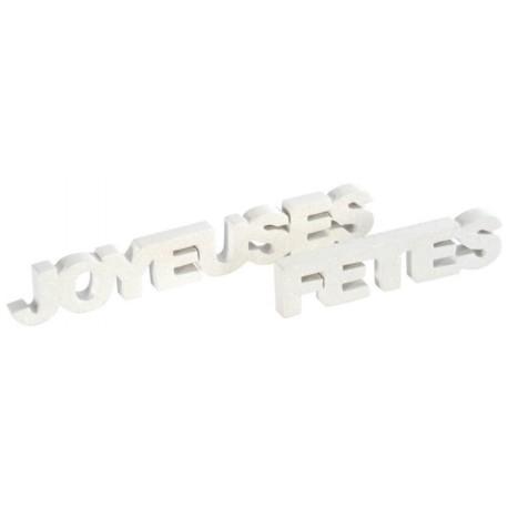 Déco mot joyeuses fêtes blanc pailleté en bois 27 cm