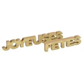 Déco mot joyeuses fêtes or pailleté en bois 27 cm