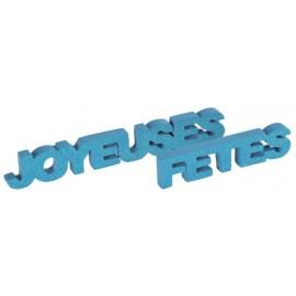 Déco mot joyeuses fêtes turquoise pailleté en bois 27 cm