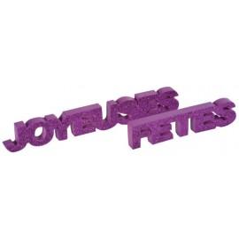 Déco mot joyeuses fêtes prune pailleté en bois 27 cm