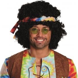 Perruque afro hippie noire adulte