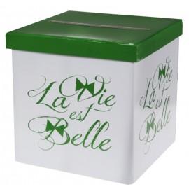 Tirelire La vie est belle carton 20 cm