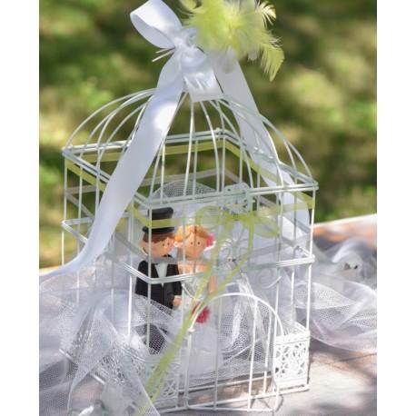 Tirelire cage à oiseaux blanche carrée 34 cm
