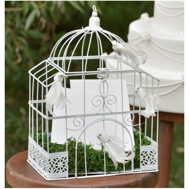 tirelire cage oiseaux blanche rectangulaire d coration f te mariage. Black Bedroom Furniture Sets. Home Design Ideas