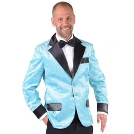 Déguisement veste turquoise à paillettes homme luxe