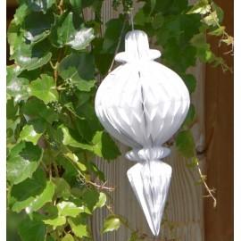 Boule pampille blanche papier alvéolé 28.5 cm