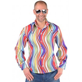 Déguisement chemise hippie rainbow waves homme 70's luxe