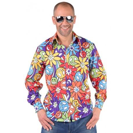 Déguisement chemise hippie smile homme 70's luxe