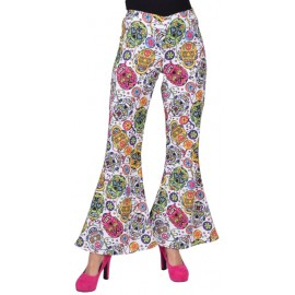 Déguisement pantalon hippie mexican skull femme luxe