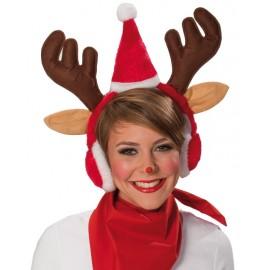 Serre tête renne Noël avec cache-oreilles adulte
