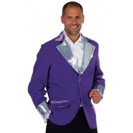 Déguisement veste violette paillettes sequin argent homme luxe