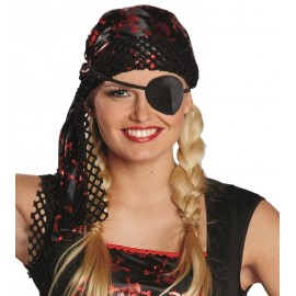 Bandana pirate noir rouge adulte